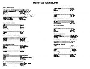 TAEKWONDO TERMINOLOGY
