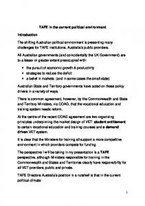 TAFE in the current political environment