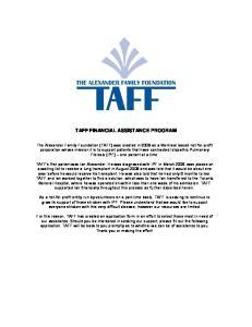 TAFF FINANCIAL ASSISTANCE PROGRAM