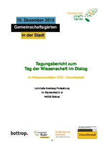 Tagungsbericht zum Tag der Wissenschaft im Dialog