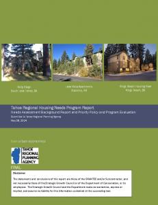 Tahoe Regional Housing Needs Program Report Needs Assessment Background Report and Priority Policy and Program Evaluation