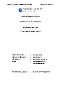 TAHUN :2012 KOD KURSUS : ABSA1103 TAJUK KURSUS : PRINSIP AQIDAH
