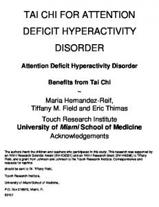 TAI CHI FOR ATTENTION DEFICIT HYPERACTIVITY DISORDER