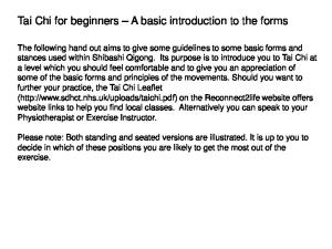 Tai Chi for beginners A basic introduction to the forms