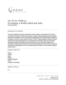 Tai Chi for Children: Developing a Healthy Mind and Body Instructional Plan