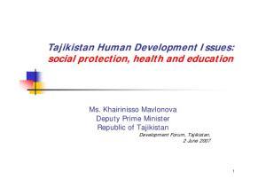 Tajikistan Human Development Issues: social protection, health and education