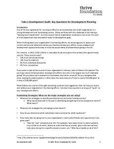 Take a Development Audit: Key Questions for Development Planning