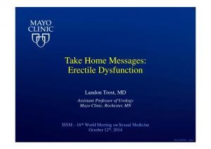 Take Home Messages: Erectile Dysfunction