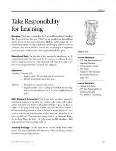 Take Responsibility for Learning
