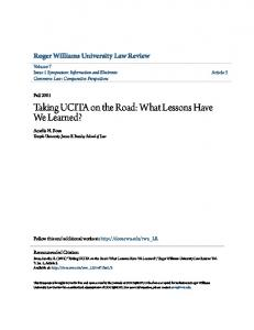 Taking UCITA on the Road: What Lessons Have We Learned?