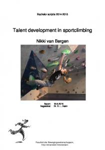Talent development in sportclimbing