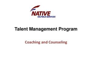 Talent Management Program. Coaching and Counseling