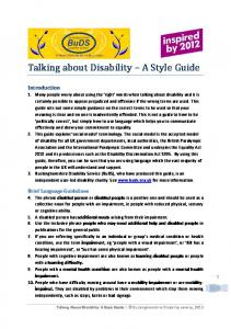 Talking about Disability A Style Guide
