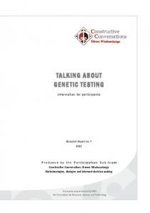 TALKING ABOUT GENETIC TESTING