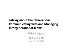 Talking about the Generations: Communicating with and Managing
