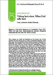 Talking back about When God talks back