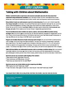 Talking with Children about Mathematics