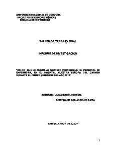 TALLER DE TRABAJO FINAL INFORME DE INVESTIGACION