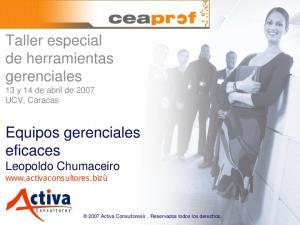 Taller especial de herramientas gerenciales 13 y 14 de abril de 2007 UCV, Caracas
