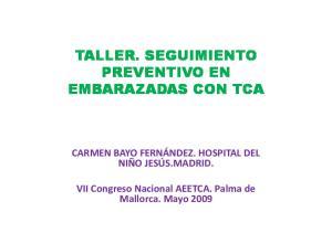 TALLER. SEGUIMIENTO PREVENTIVO EN EMBARAZADAS CON TCA