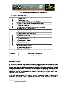 TALLER SOBRE ASPECTOS GENERALES DE LOS PROYECTOS