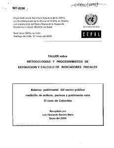 TALLER sobre METODOLOGIAS Y PROCEDIMIENTOS DE ESTIMACION Y CALCULO DE INDICADORES FISCALES