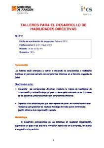 TALLERES PARA EL DESARROLLO DE HABILIDADES DIRECTIVAS