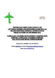 TAMILNADU TOURISM DEVELOPMENT CORPORATION LIMITED, TAMILNADU TOURISM COMPLEX, No.2, WALLAJAH ROAD, CHENNAI