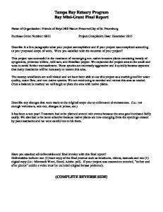 Tampa Bay Estuary Program Bay Mini-Grant Final Report
