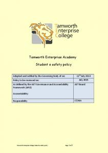 Tamworth Enterprise Academy. Student e safety policy