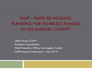 TANF RAPID RE-HOUSING PLANNING FOR HOMELESS FAMILIES IN LOS ANGELES COUNTY