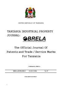 TANZANIA INDUSTRIAL PROPERTY JOURNAL: