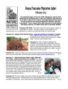 Tanzania Migration Safari February 2017