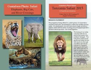 Tanzania Safari Gustafson Photo Safari. Elephants, Big Cats, and River Crossings. Gustafson Photo Safari. 14 Day African Adventure