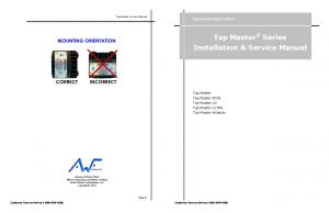 Tap Master Series Installation & Service Manual