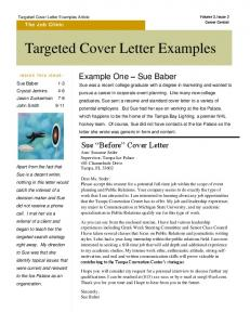 Targeted Cover Letter Examples