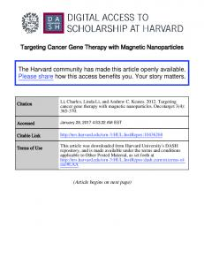 Targeting Cancer Gene Therapy with Magnetic Nanoparticles