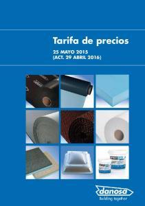 Tarifa de precios 25 MAYO 2015 (ACT. 29 ABRIL 2016)