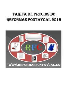 TARIFA DE PRECIOS DE REFORMAS FONTAYCAL 2016