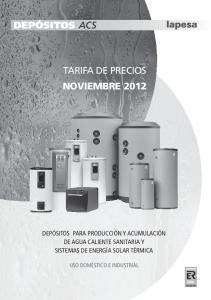 TARIFA DE PRECIOS NOVIEMBRE 2012