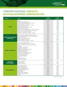 TARIFARIO NACIONAL SERVICIO DE EVALUACIONES LABORALES SEL