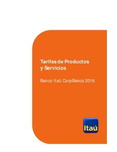 Tarifas de Productos y Servicios