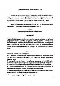 TARIFAS DE TASAS VIGENTES PARA 2013