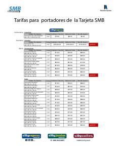 Tarifas para portadores de la Tarjeta SMB