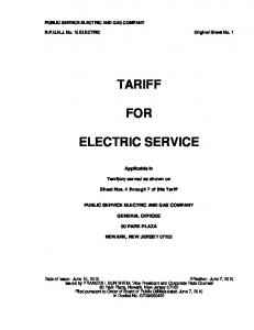 TARIFF FOR ELECTRIC SERVICE
