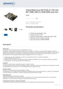 Tarjeta Madre Asus Z87-PLUS, S-1150, Intel Z87, HDMI, USB 3.0, 32GB DDR3, para Intel