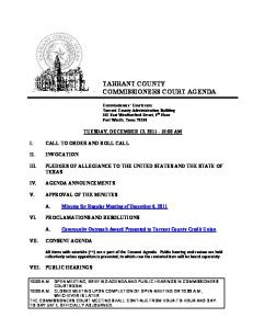 TARRANT COUNTY COMMISSIONERS COURT AGENDA