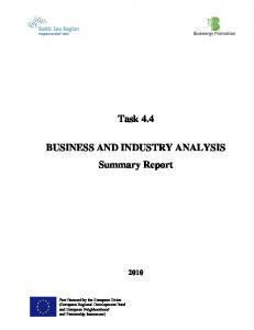 Task 4.4. BUSINESS AND INDUSTRY ANALYSIS Summary Report
