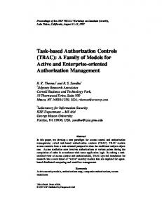 Task-based Authorization Controls (TBAC): A Family of Models for Active and Enterprise-oriented Authorization Management