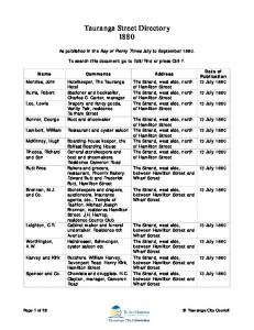 Tauranga Street Directory 1880